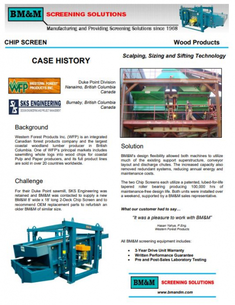 Featured Forest Products Case History: Western Forest Products.""